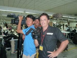 Production still from a shoot in Asia by Camerado Movies and Media with Cambodian A-camera, gaffers and coordinator