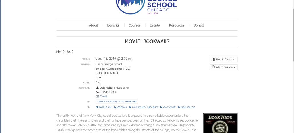 Henry George School in Chicago steals IP (intellectual property), the movie 'BookWars'